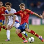 Spain's Ignacio Monreal (R) vies for the