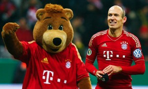 Bayern Munich's Arjen Robben celebrates the 1-0 win against Borussia Dortmund in the German Cup