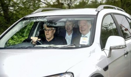 Pictures: Moyes and Ferguson together at Carrington